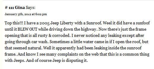 Jeep Liberty sunroof leak
