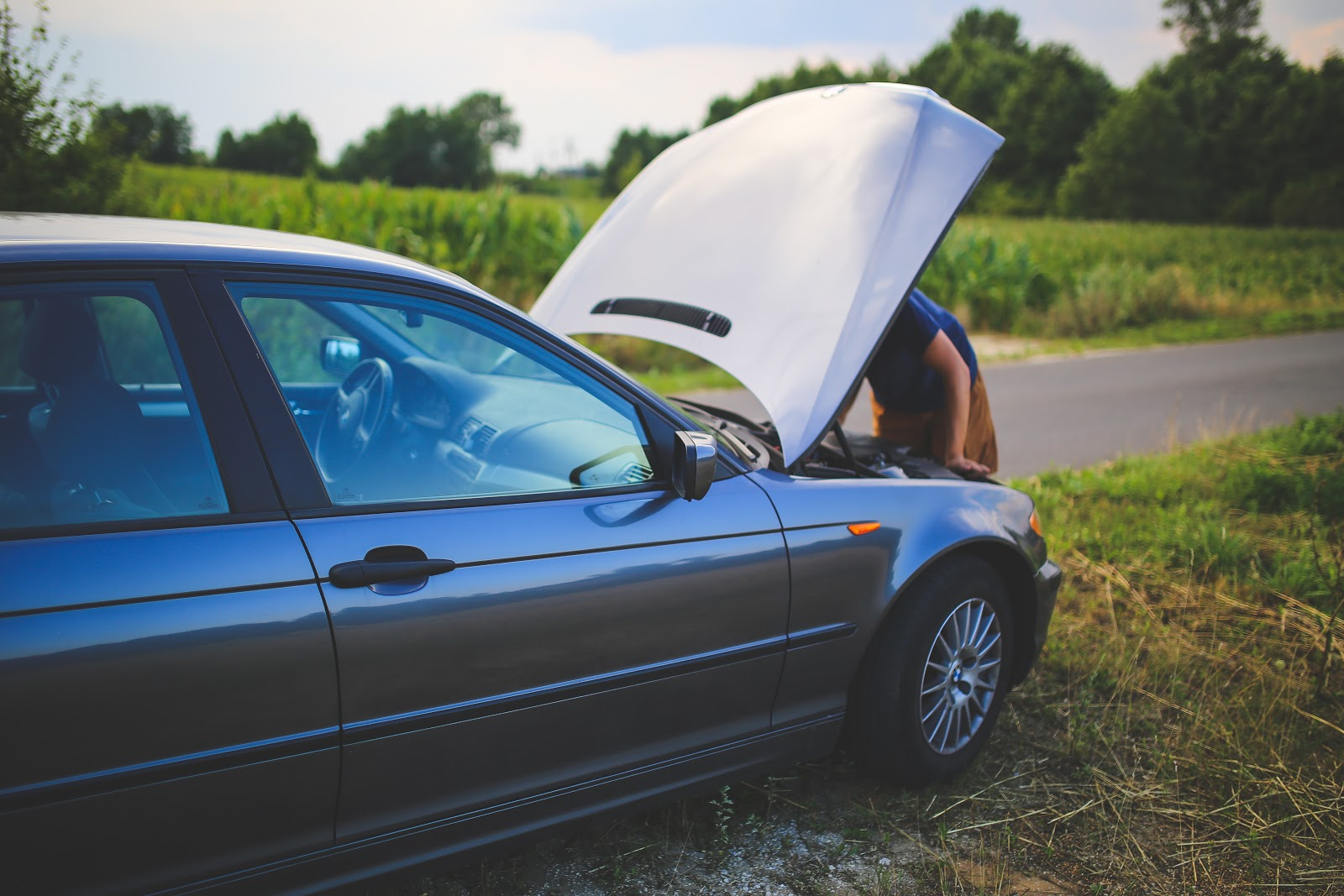 A car broken down in New Jersey