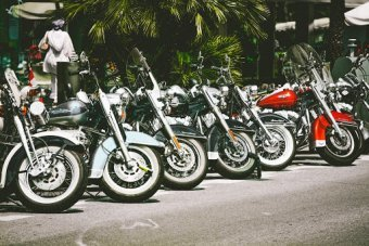 Motorcycles Lined up in New Jersey