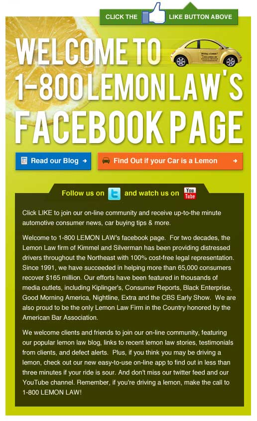 Lemon Law Facebook Landing Page