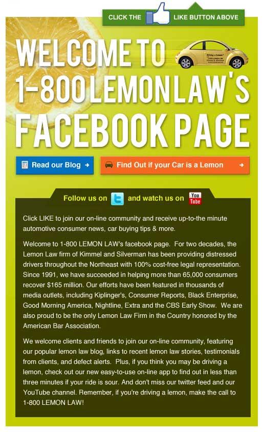 Lemon Law Facebook Landing Page